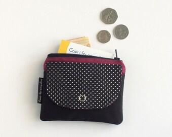 Monedero de tela de topos, cartera para mujer, monedero cremallera, accesorios mujer