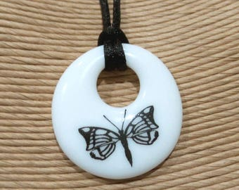 Butterfly Necklace, Black and White Pendant, Handmade Donut Pendant, Fused Glass Jewelry, Ready to Ship - Rachel -7