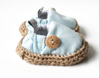 Blue Newborn shoes, Newborn crib shoes, Baby blue espadrilles, baby cotton shoes, blue baby shoes, cotton crib shoes, soft sole baby shoes
