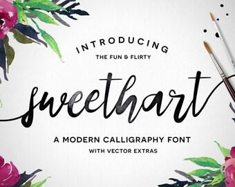 Digital Font - Sweethart - Calligraphy Script - Vectors
