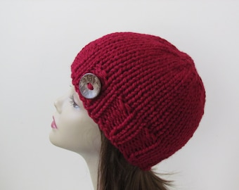 Chunky Knit Hat Winter Hat Chunky Knit Beanie Womens Hat Teens Hat - Cranberry with  Button Accent  - Ready to Ship - Gift for Her
