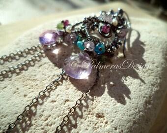 SECRET GARDEN wire wrapped gemstone earrings.