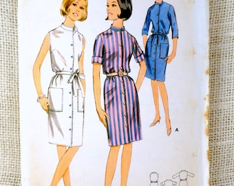 Butterick 3924 Vintage Sewing Dress Pattern Mod Groovy 1960s Bust 32 Button Tie Belt Patch Pockets Midi
