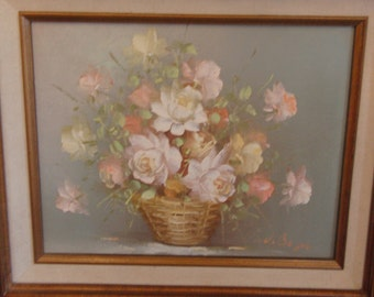 Vintage original oil painting of flowers on canvas signed by the artist