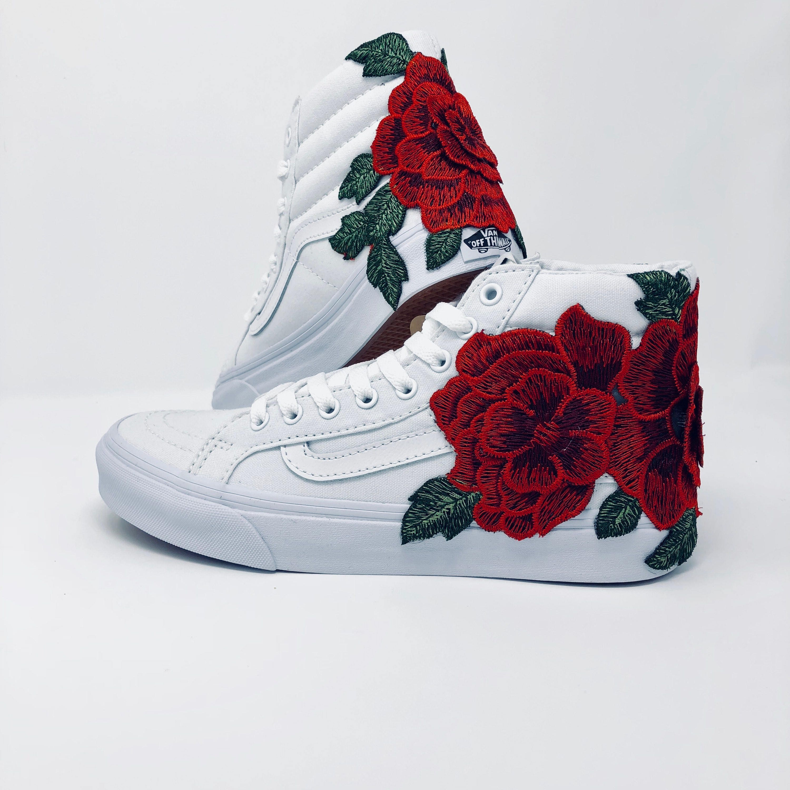 Custom Vans For Sale >> Rose Embroidered Vans floral embroidery vans roses custom