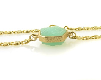 Birdhouse Jewelry - Gold and Aqua Drusy Bracelet
