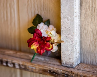 Boutonniere- Ivory / Burgundy