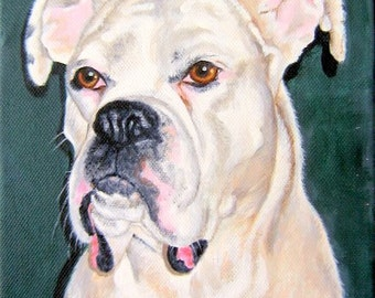 Original Custom Pet Portrait Painting from your photo, oil painting on canvas, gift, dog portrait or any animal painting, example Boxer dog