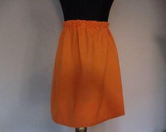 Orange Polyester Mini Skirt