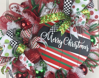 Merry Christmas Wreath, Red ans Green Christmas Wreath, Christmas Wreayh with Sign, Whismical Christmas Wreath