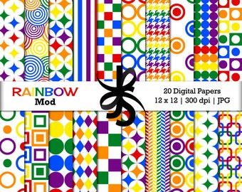 Digital Scrapbook Papers-Mod Rainbow-Rainbow Papers-Retro Patterns-Rainbow Birthday-Geometric Patterns-Retro-Instant Download Clip Art