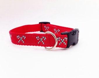 "3/4"" Adjustable Dog Collar, Buckle Collar, Candy Cane"