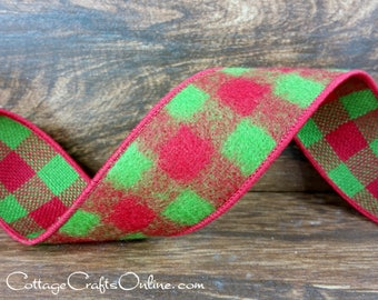 """Christmas Wired Ribbon, 1 1/2"""" Red, Lime Green Check Flannel - TEN YARD ROLL - Apple Green and Red Buffalo Plaid Check Wire Edged Ribbon"""