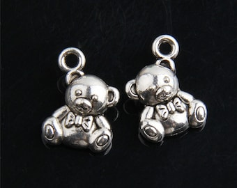 6 Adorable Teddy Bear Charms Sweet Little Double Sided Baby Bears Mother's Day Jewelry Supplies 15x14mm Note Measurements