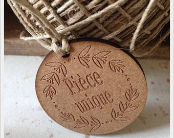 Set of 25 tags in wood with writing * unique * D4cm
