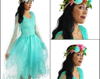 Woman's Fairy Costume ~ Halloween Fairy Party  Dress ~  Tori Flower  Headpiece ~ Renaissance ~ Sweet 16 ~ Bridal ~ Theatre ~ Dance ~ Ballet