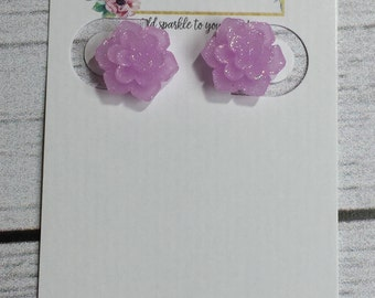 12mm Sparkly Lavender Succulent Surgical Stainless Steel Earrings