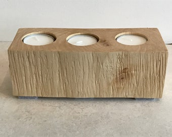 Candle Holder 3 Tea Light Wood Log Block Handmade Natural Treated
