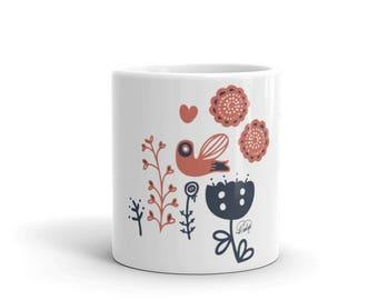 Whimsical Mug, Mom Mug, Gift for Mom, Sister Gift, Coffee Mug Gift, House Gift, Coffee Mugs, Floral Mug, Christmas Gift, Housewarming Gift,