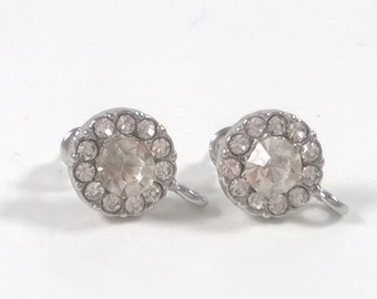 2 pcs / 1 pair Silver Clear 0.5 inch Faceted Glass Crystal Earrings Posts - Jewelry Supplies Findings