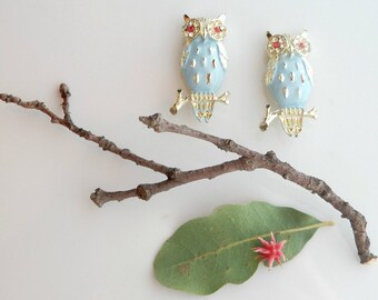 Vintage Owl Brooch Set, Enamel Sweater Pins, Mid Century Gold Owl Pin, 1950s Scatter Pins, Rockabilly Jewelry