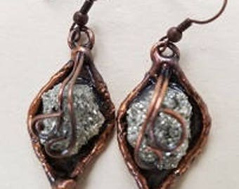 Copper Earrings with Pyrite