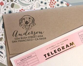 Custom Address Stamp, Return address stamp, Golden Retriever gift idea, Return Address, holiday gift, housewarming gift, dog owner stamp