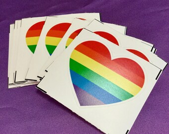 Rainbow pride heart sticker / Gay pride sticker / Vinyl sticker / Weatherproof sticker