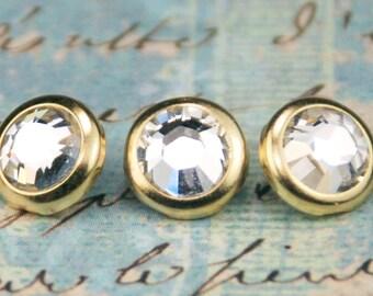 10 cristal cheveux Snaps - rond or jante édition--faite avec des strass Swarovski Element