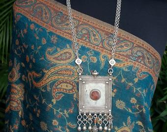 Vintage Yemen silver necklace   tribal silver pendant necklace   antique silver Yemeni amulet   ethnic statement necklace   bold jewellery