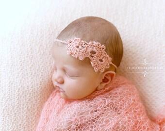 Pink Sunflower Mohair Knit Baby Wrap Newborn Photography