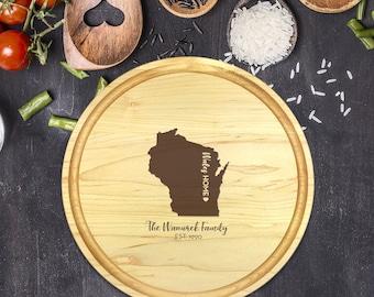 Custom Cutting Board Round - State Cutting Board, Wedding Gift, Personalized Gift, Housewarming Gift, Anniversary Gift, Christmas, B-0018