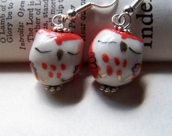 Valentines Day Gift Owl Cute Girls Gift Candy Apple Red Owl Earrings Cute Little Owls Girls Earrings