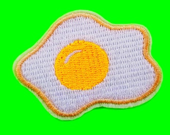 Sunny Side Up Fried Egg Breakfast Bonanza Protein Power Cute Food Yellow and White Embroidered Iron or Sew On Patch