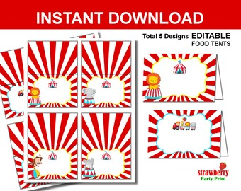 Circus Food Tent, Circus Food Labels, Circus Food Signs, Carnival Food Signs, Circus Decoration, Circus Food Tents, Place Cards, Name Cards