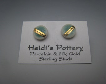 Porcelain and 22k gold luster earrings on sterling silver studs