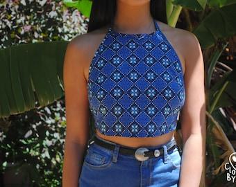 Handmade 'Mosaic Blue' Backless Halter Top