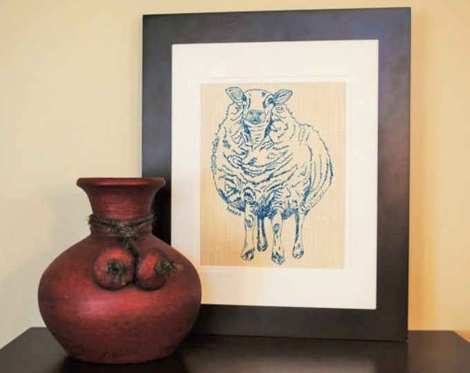 Teal Sheep Wall Hanging - Animal Artwork - Art for Boys Room - Sheep Wall Picture - Animal Prints for Nursery - Gift for New Mom