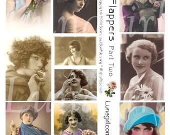 FLAPPERS 2 collage sheet DOWNLOAD vintage photos images 1920s women altered art digital ephemera sassy romantic