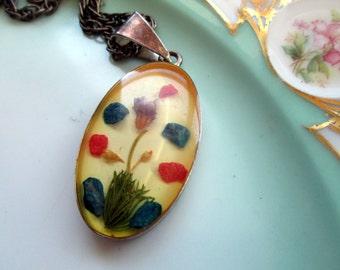 Vintage pendant resin Encased Flowers and Pebble rocks Black Patina