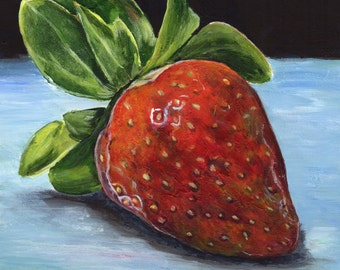 Strawberry Red Fruit Kitchen Art SFA  - Original hand painted acrylic still life painting by Australian Artist Janet M Graham
