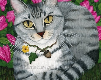 Tabby Cat Garden Cat Painting Azalea Flowers Fantasy Cat Art Limited Edition Canvas Print 11x14 Art For Cat Lover