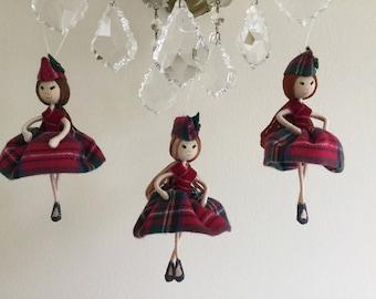 Scottish Tartan doll Christmas ornament, wire doll christmas, tartan ornament.