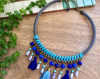 Blue Bohemian Necklace Tassel Necklace Crystal Necklace Statement Necklace Short Fringe Necklace Bib Necklace Boho Necklace Hippie necklace