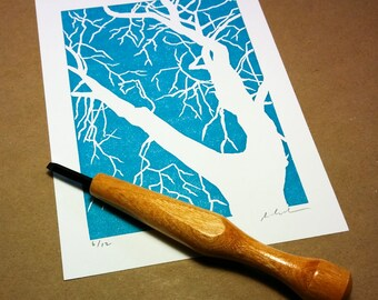 "Block print: sky blue tree silhouette - limited edition hand pulled fine art block print (5 x 7""), art print, wall print, art poster"