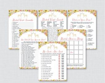 Woodland Bridal Shower Games Package with Six Games- Printable Whimsical Deer Bridal Shower Games - He Said She Said, Bingo, etc 0022