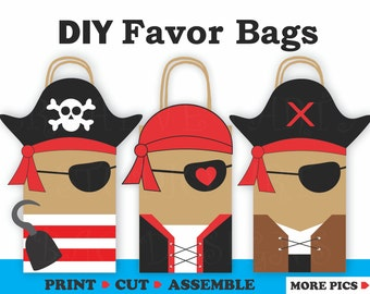 Pirate Favor Bags/ Pirate Party Bags/ Pirates Party Supplies/ Pirates Birthday Theme/ Pirate Birthday invitations/ Pirate Candy Treat Bags