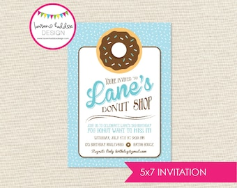 Donut Shop Birthday Invitation, Donut Invitation, Donut Printables, Donut Birthday Decorations, Lauren Haddox Designs
