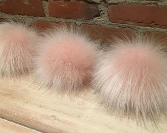 Pink Faux Pom, Faux Fur, Large Pom, Pom Pom, Pearl Powder Pink, Fur Ball, Light Pink Pom, Hat Pom, Knitting Accessories, Crochet Supplies
