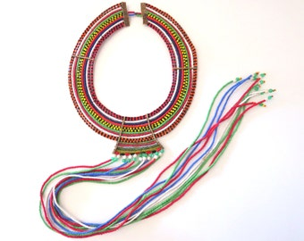 Vintage Maasai Wedding Necklace Beaded Collar African Ceremonial, Kenya Masai Necklace Ethnic Cultural Art